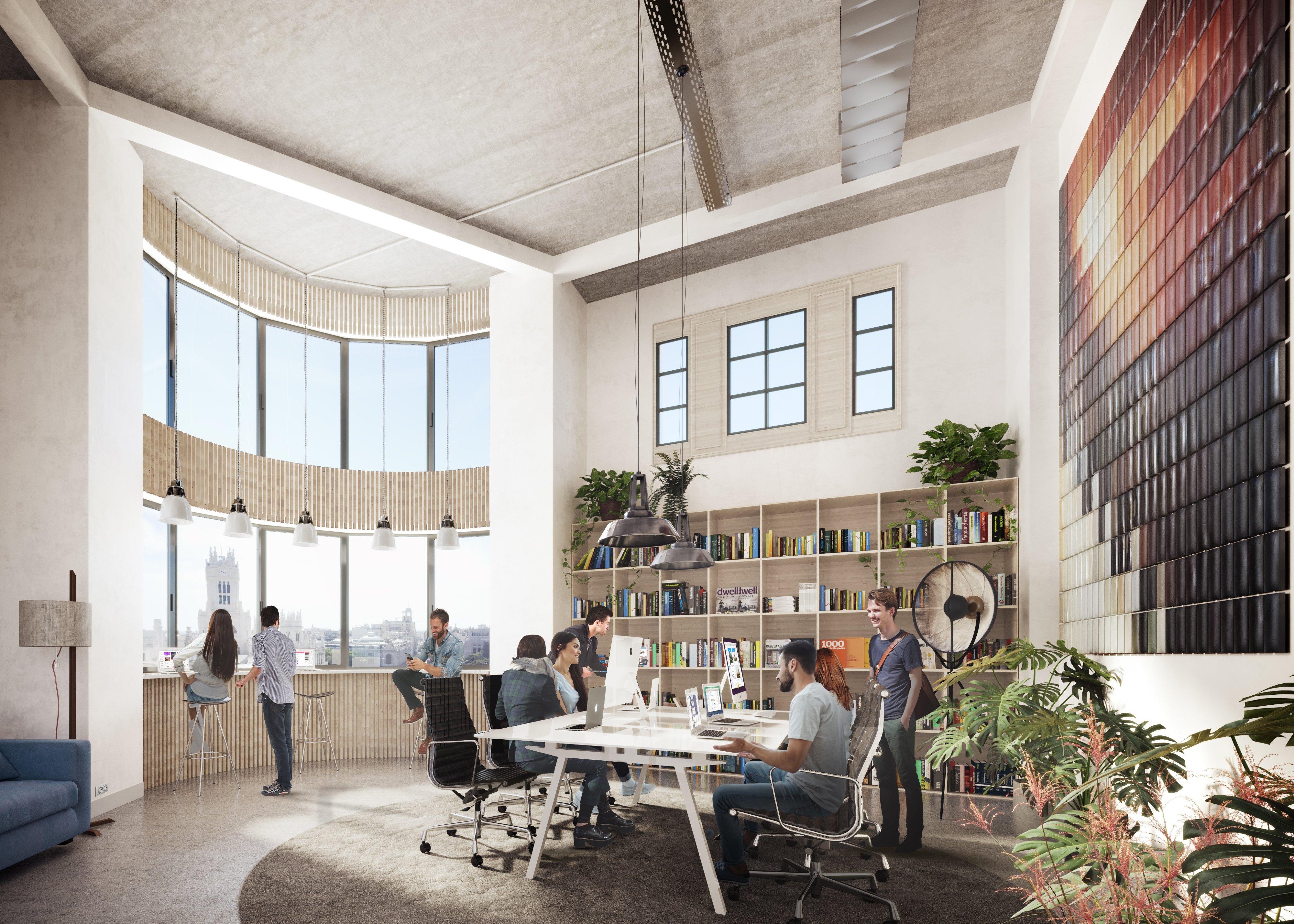Cloudworks Cibeles indaga en la idea del puesto de trabajo no como un espacio rígido, sino como un conjunto de posibilidades entre las que elegir el mejor lugar para trabajar a lo largo del día.