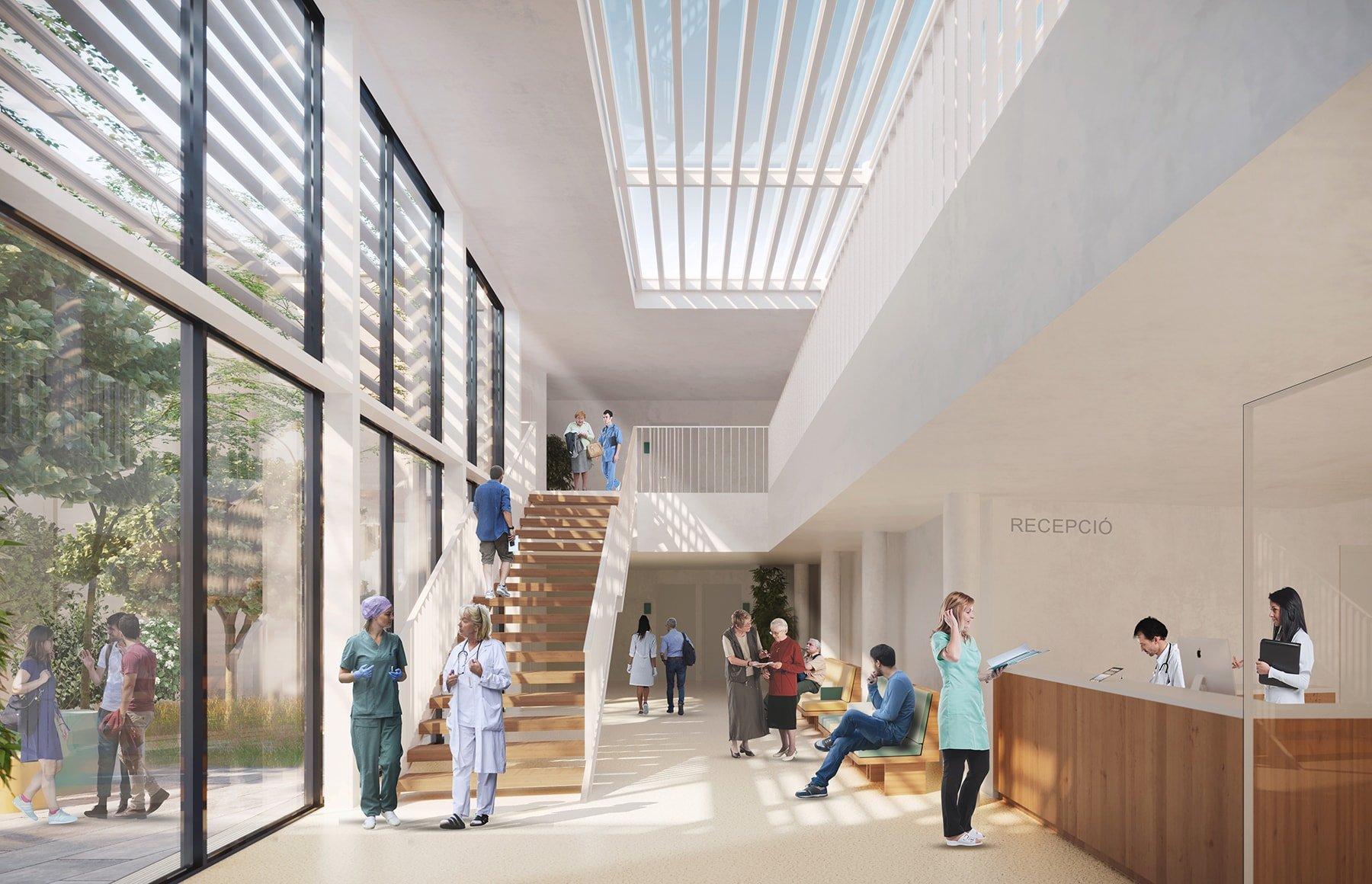 El centro de Salud de Llucmajor unifica la idea de un edificio altamente funcional junto con la calidad de los espacios gracias a la relación directa con el entorno.