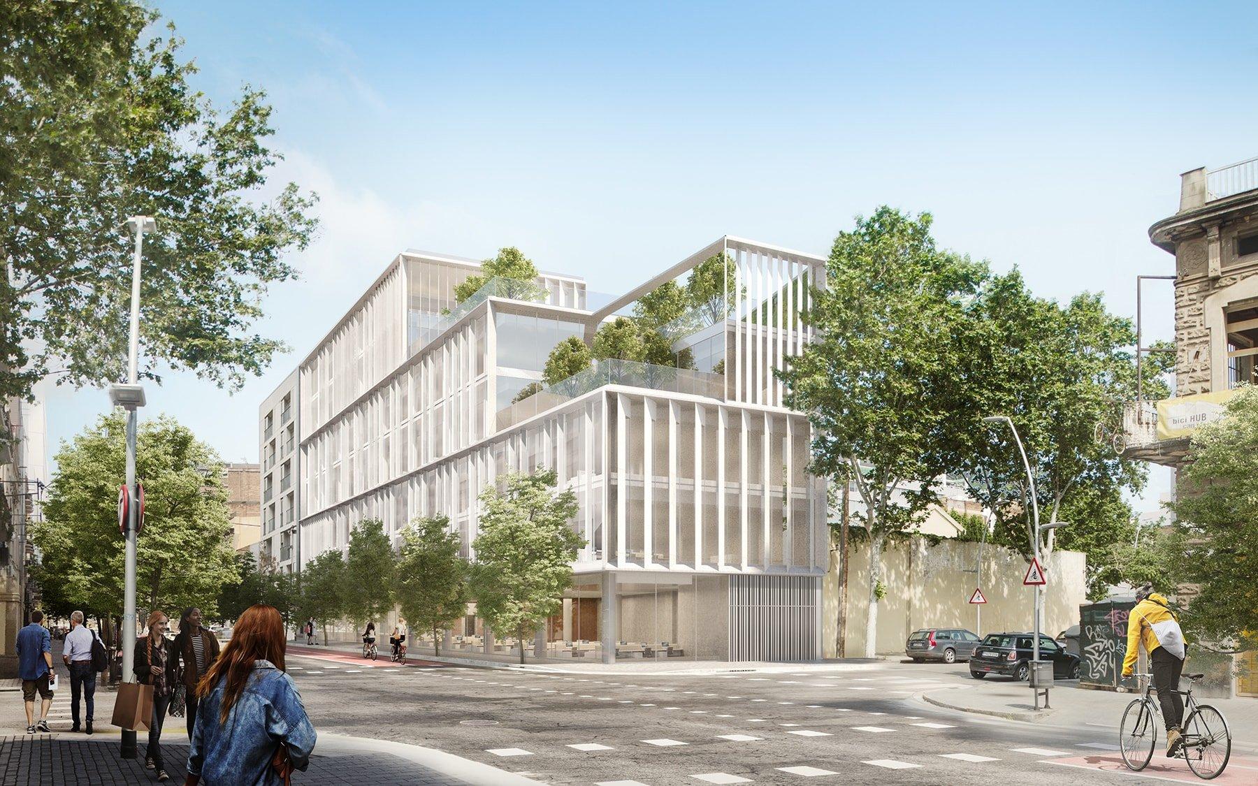 El edificio de oficinas de la calle Pere IV (Poblenou), pretende serun puente entre el barrio histórico y el futuro distrito tecnológico de la ciudad.