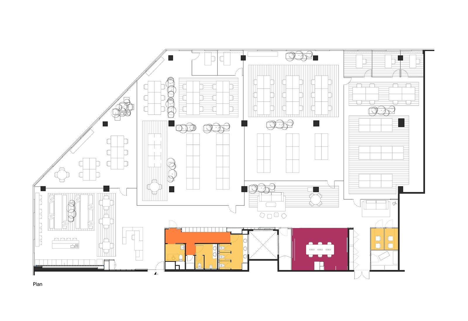 """Plano del edificio Startup Hub """"Cloudworks Pujades"""" en el distrito 22@ de Barcelona."""